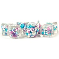 DICE SET 7 PEARL RESIN: GRADIENT PURPLE / TEAL / WHITE