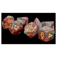 DICE SET 7: PEARL SWIRL RED / GREEN