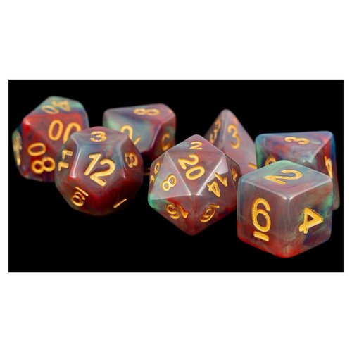 Metallic Dice Company DICE SET 7: PEARL SWIRL RED / GREEN