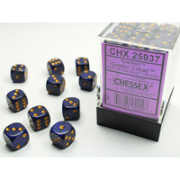 DICE SET 12mm SPECKLED GOLD COBALT