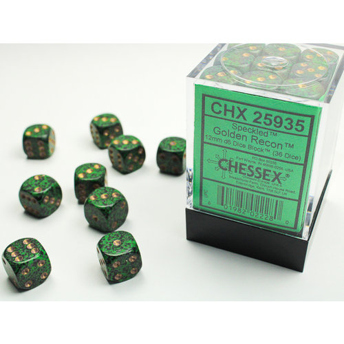 Chessex DICE SET 12mm SPECKLED GOLDEN RECON