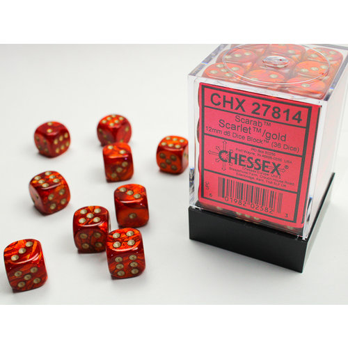 Chessex DICE SET 12mm SCARAB SCARLET