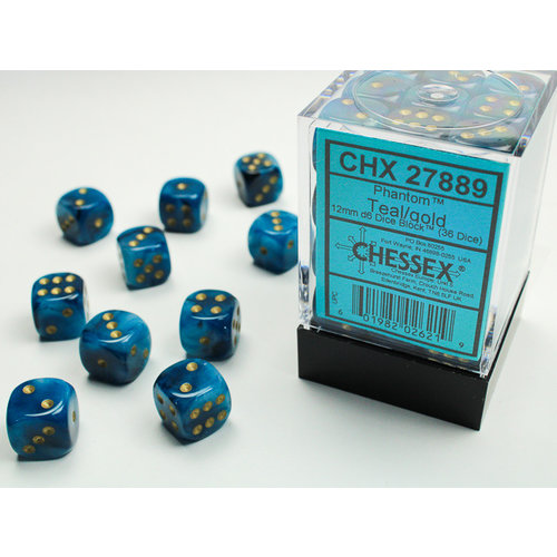Chessex DICE SET 12mm PHANTOM TEAL-GOLD
