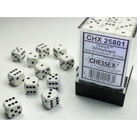 DICE SET 12mm OPAQUE WHITE-BLACK