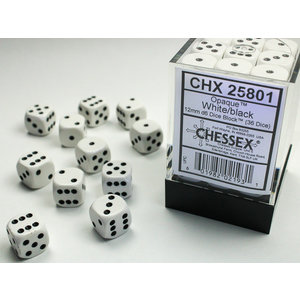 Chessex DICE SET 12mm OPAQUE WHITE-BLACK