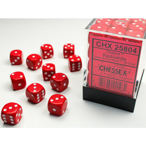 Chessex DICE SET 12mm OPAQUE RED-WHITE