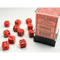 DICE SET 12mm OPAQUE ORANGE-BLACK