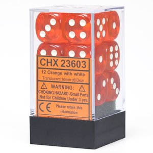 Chessex DICE SET 16mm TRANSLUCENT ORANGE