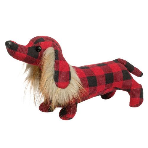 "Douglas Cuddle Toys GRISWOLD BUFFALO PLAID DACHSHUND 16"""