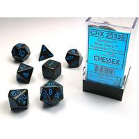 DICE SET 7 SPECKLED BLUE STARS