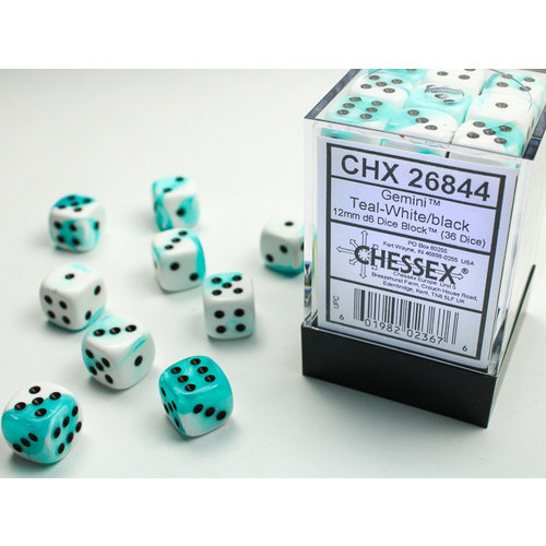 Chessex DICE SET 12mm GEMINI TEAL-WHITE/BLACK