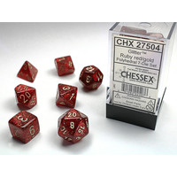 DICE SET 7 GLITTER: RUBY RED/GOLD