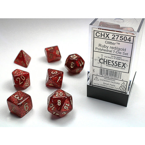 Chessex DICE SET 7 GLITTER: RUBY RED/GOLD