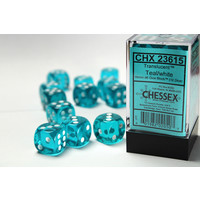DICE SET 16mm TRANSLUCENT TEAL