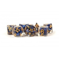 DICE SET 7 PEARL RESIN: ROYAL BLUE / GOLD