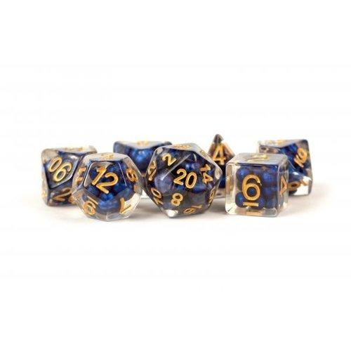 Metallic Dice Company DICE SET 7 PEARL RESIN: ROYAL BLUE / GOLD