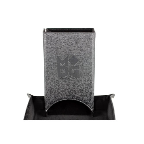 Metallic Dice Company FOLD UP LEATHER DICE TOWER: BLACK