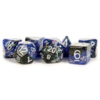 DICE SET 7 ETERNAL RESIN: BLUE / BLACK