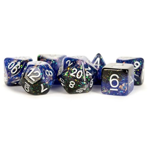 Metallic Dice Company DICE SET 7 ETERNAL RESIN: BLUE / BLACK