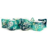 DICE SET 7 ETERNAL RESIN: TEAL / BLACK