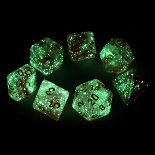 Chessex DICE SET 7 LEAF FUSCHIA/YELLOW Luminary Lab Dice