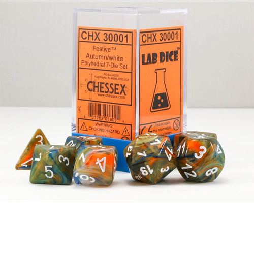 Chessex DICE SET 7 FESTIVE AUTUMN/WHITE Lab Dice