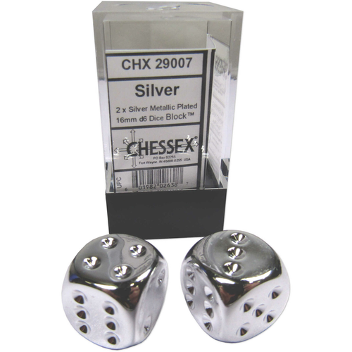 Chessex DICE PAIR 16mm SILVER PLATED