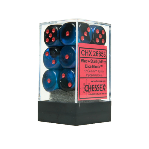 Chessex DICE SET 16mm GEMINI BLACK STARLIGHT/RED