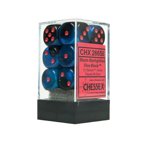 Chessex DICE SET 16mm GEMINI BLACK STARLIGHT