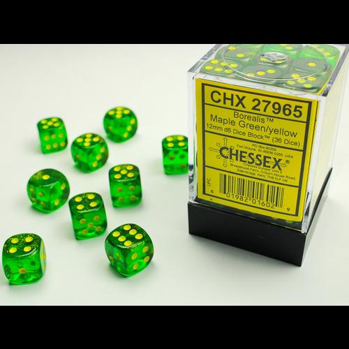 Chessex DICE SET 12mm BOREALIS MAPLE GREEN/YELLOW