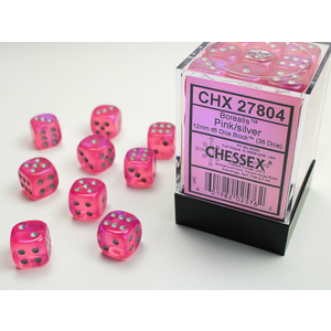 Chessex DICE SET 12mm BOREALIS PINK/SILVER
