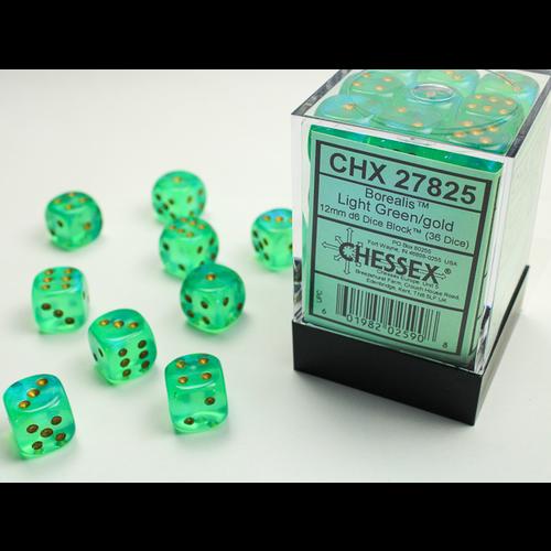 Chessex DICE SET 12mm BOREALIS LIGHT GREEN/GOLD