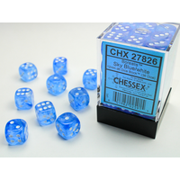 DICE SET 12mm BOREALIS SKY BLUE/WHITE