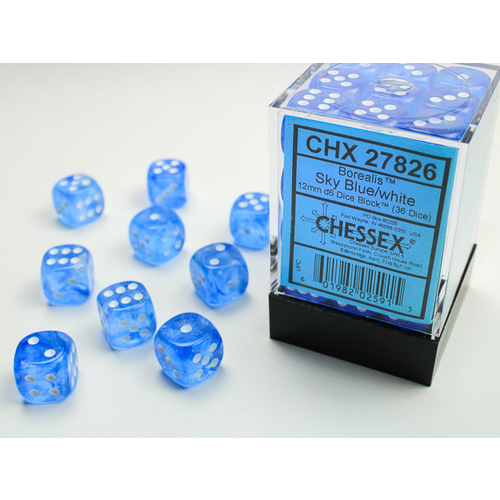 Chessex DICE SET 12mm BOREALIS SKY BLUE/WHITE
