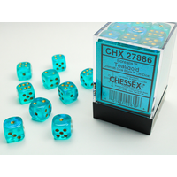 DICE SET 12mm BOREALIS TEAL/GOLD