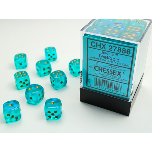 Chessex DICE SET 12mm BOREALIS TEAL/GOLD