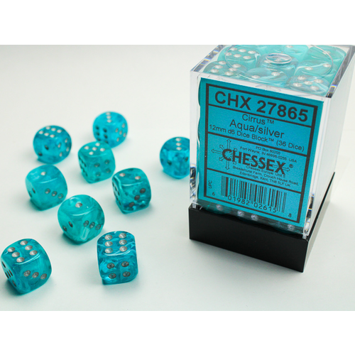 Chessex DICE SET 12mm CIRRUS AQUA/SILVER