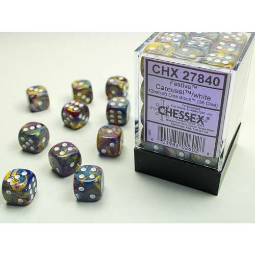 Chessex DICE SET 12mm FESTIVE CAROUSEL/WHITE