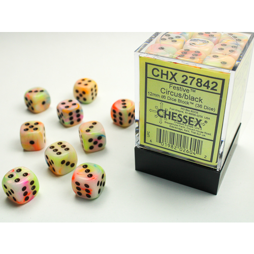 Chessex DICE SET 12mm FESTIVE CIRCUS/BLACK