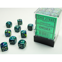 DICE SET 12mm FESTIVE GREEN/SILVER