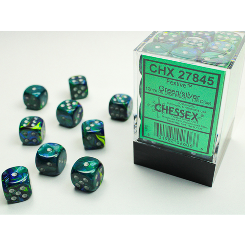 Chessex DICE SET 12mm FESTIVE GREEN/SILVER