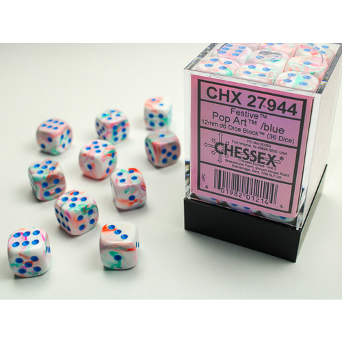 Chessex DICE SET 12mm FESTIVE POP ART/BLUE