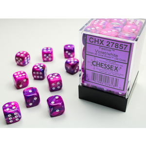 Chessex DICE SET 12mm FESTIVE VIOLET/WHITE