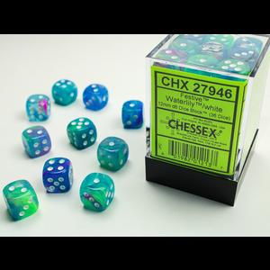 Chessex DICE SET 12mm FESTIVE WATERLILY/WHITE