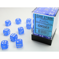 DICE SET 12mm FROSTED BLUE/WHITE