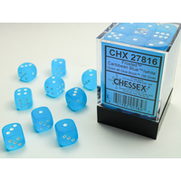 DICE SET 12mm FROSTED CARIBBEAN BLUE