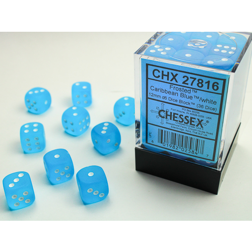 Chessex DICE SET 12mm FROSTED CARIBBEAN BLUE/WHITE