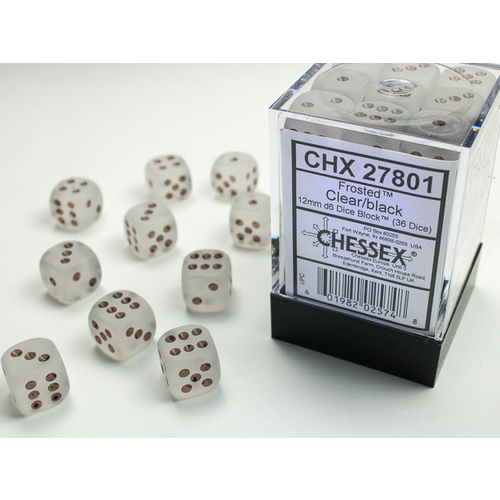 Chessex DICE SET 12mm FROSTED CLEAR/BLACK
