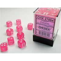 DICE SET 12mm FROSTED PINK/WHITE