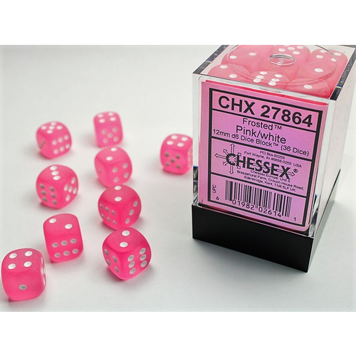 Chessex DICE SET 12mm FROSTED PINK/WHITE